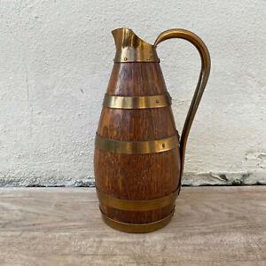 Vintage French Stamped Wood Wine Cider Jug Pitcher Staved Metal Rivets 16072121