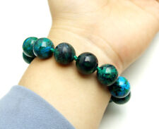 "Natural 14mm Round Green Chrysocolla Stone Bracelet for Women 7.5"" Jewelry br167"