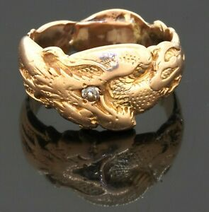 Vintage 18K yellow gold 0.05CT diamond solitaire dragon men's band ring size 10