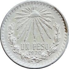 Mexico 1 Peso 1920 Cap and Rays, KM# 455. First Year of Issue.