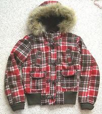 Read-Size-Info WOOL HEAVY WINTER COAT/JACKET Fuax-Fur Hood Red-Brown Plaid Women