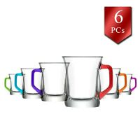 LAV Glass Coffee Mugs Set of 6, Teacups with Colorful Handles,7.6 oz-225 cc