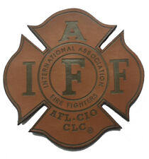 """Leather IAFF Firefighter / Paramedic UNION 4"""" with VELCRO® Brand fasteners PATCH"""