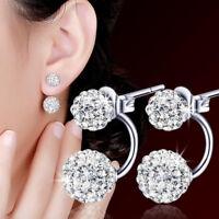 Damen Doppel Perlen Ohrringe Kristall Zirkonia Ohrstecker 925 Silber Pleated GUT