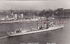 "Royal Navy Real Photo Postcard. HMS ""Inglefield"" Destroyer. At Malta. Sunk! 1937"