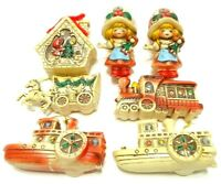 VINTAGE 1960s JAPAN 7 RUBBER CHRISTMAS TREE ORNAMENTS HOLIDAY DECORATIONS RETRO