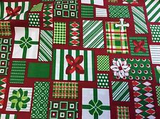 FABRIC FINDERS #1856 GREEN,LIME,RED & WHITE CHRISTMAS PRESENTS- BY THE YARD