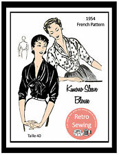 1950s Pussy Bow Blouse- Vintage French Sewing Pattern