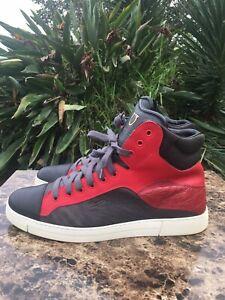 Salvatore Ferragamo Stephen Nero Calf DarkRain Red Black Designer Sneakers Sz 10