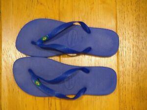 HAVAIANAS BRASIL LOGO FLIP FLOPS MARINE BLUE UK9/10 EU43/44 - US 10/11 BRAZIL