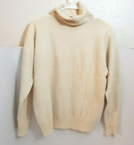 Vintage Womens 100% Pure Cashmere Turtleneck Sweater Cream M Country Shop