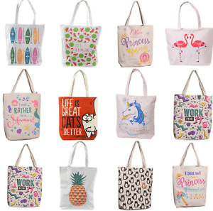 Cotton Zip Lining Reusable Womens Shopping Bag Shopper Handles Tote Beach Bags
