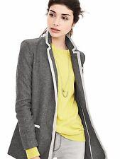 BANANA REPUBLIC BR Women Wool Blend Piped Gray Hacking Jacket $178 Size 12P BNWT
