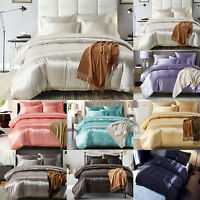 3Pcs Solid Satin Silk Comforter Duvet Cover Bedding Set King Queen Pillowcase