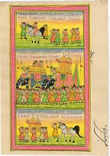 Indian Mughal Procession Paper Painting Art Moghul Ethnic Miniature Handmade Art