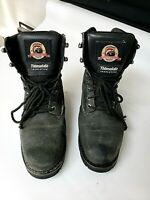 Men's Brahma Leather Ankle Work Boots Shoes Steel Toe Size 8 XW Black