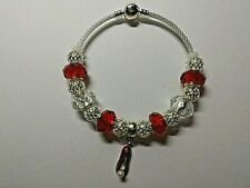 European Style Silver TINKERBELLS FRIENDS Bracelet with  RED SHOE and BEADS