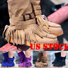 Winter Women's Suede Ankle Boots Casual Round Tassel Ladies Warm Flat Toe Shoes