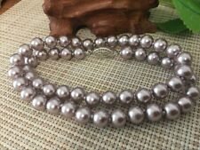 "8mm Silver Champagne South Sea Shell Pearl Necklace 18"" AAA+ 001"