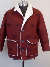 TRUE GRIT Mens Heavy Red Buffalo Faux Shearling Lined Ranch Jacket L