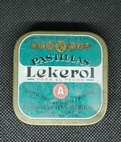 Vintage Medicine Tin:  LEKEROL Pastillas, Throat Lozenges, 1950's SWEDEN, empty