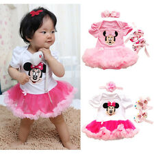 Newborn Baby Girl Romper Tutu Dress Clothes Outfit Minnie Headband Party Costume