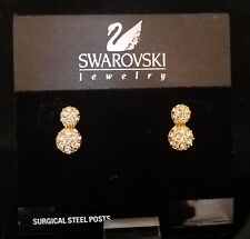 SWAROVSKI GOLD EARRINGS DOUBLE BUTTON WITH PAVE *NEW*
