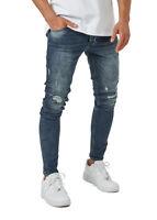 Burocs BR1512 Herren Jeans Destroyed Hose Denim Skinny Fit Schwarz Blau W29-W36