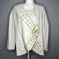 Roaman's White Leather Jacket with Gold Embroidery Women's Size 12 W