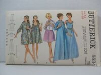 Butterick Pattern 5534 Misses Size 14 Nightgown Robe Bed Jacket Cut 1960's Vtg