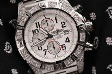 Breitling Super Avenger SS Chronograph White Dial 48mm Diamond Watch A13370