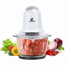 Electric Food Processor Vegetable Fruit Cutter 4 Cups Glass One Touch Chopper US