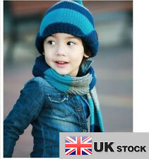 Boys Stripe Winter Weave Knitting Hat and Scarf