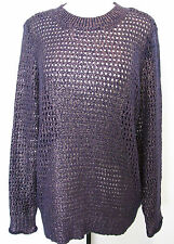 Narciso Rodriguez for DesigNation Purple And Gold Openwork Sweater Size XL