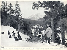 ESKIMO HUSKY SLED DOG TEAM IN THE ROCKY MOUNTAIN OLD 1934 DOG PRINT