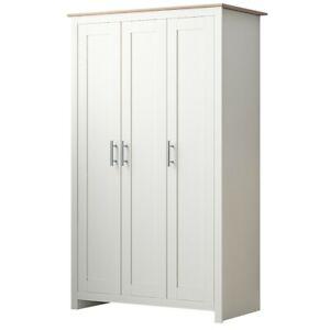 3 Door Triple Wardrobe Matt Cream & Light Oak Traditional Shaker Style Bedroom