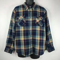 Vintage 70's Sears Mens Blue Beige Plaid Flannel Field Shirt Size XL 17-17 1/2