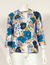 60'S FRENCH VINTAGE FLOWER PRINT PARTY TOP UK 14/16