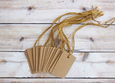 """50 Kraft Price tags with strings 2 1/2"""" X 1 1/2"""" Heavy Stock Primitive Country"""