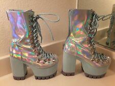 CLUB EXX hologram platform boots silver blue FROSTBITTEN women's size 5 COSPLAY