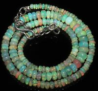 """46 TCW 3-6 MM 16""""NATURAL GENUINE ETHIOPIAN WELO FIRE OPAL BEADS NECKLACE-97894"""