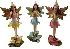 Fairy Ornament Fairies Statue Figurine Sculpture Flower Glitter Garden Set/3 25c