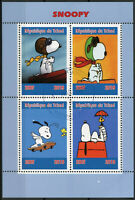 Chad 2019 CTO Snoopy Peanuts 4v M/S Cartoons Comics Stamps