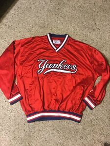 VINTAGE STARTER NEW YORK YANKEES SEWN SCRIPT Large RED PULL-OVER PRE-OWNED