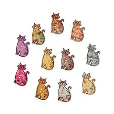 "Lot of 10 DECORATED CATS 2-hole 1 1/4"" x 3/4"" White Wood Buttons (1022) Crafts"