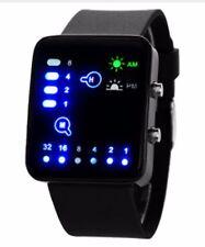 Reloj de Pulsera elegante Reloj de Pulsera de Silicona de Binario Digital LED Negro LED _ BU