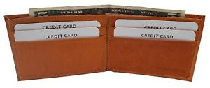 AG Wallets Kids Small Thin Bifold Boys Mini TAN Leather Wallet Gift