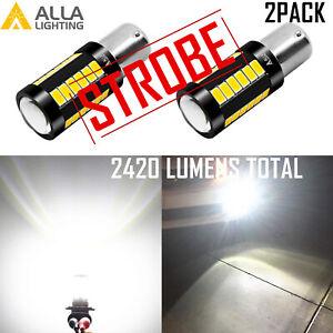 ALLA LED STROBE → Solid White 1156 Back Up Light Bulb Safety Reverse Backup Lamp