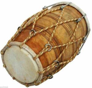 Handmade Traditionell Indisch Musikinstrument Musical Seil Dholak Mit Abdeckung