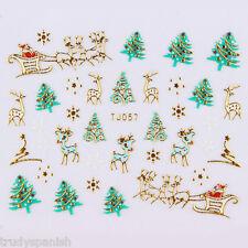 Navidad Adhesivos Pegatinas Para Uñas Oro Metálico Copos de nieve Papa noel TJ57